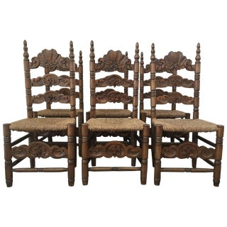 Set of Six Chairs, Turned and Carved Wood, With Straw Seat of the 20th Century For Sale