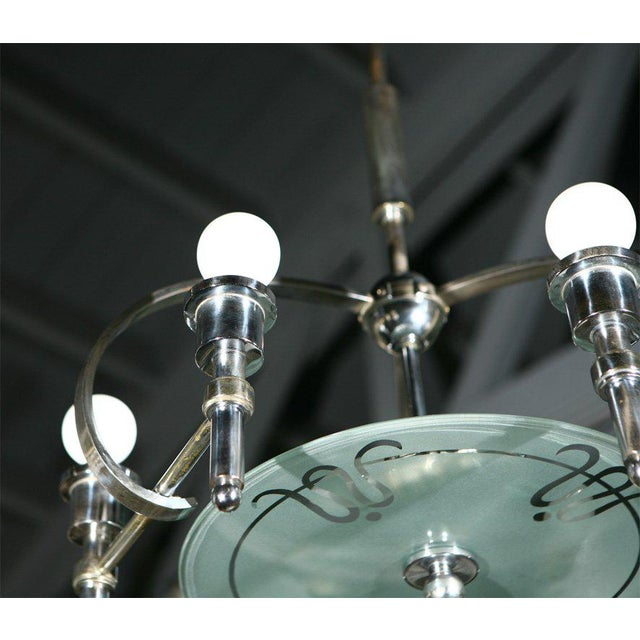 1930s Italian Machine-Age Art Deco Chandelier Pietro Chiesa For Sale - Image 5 of 7