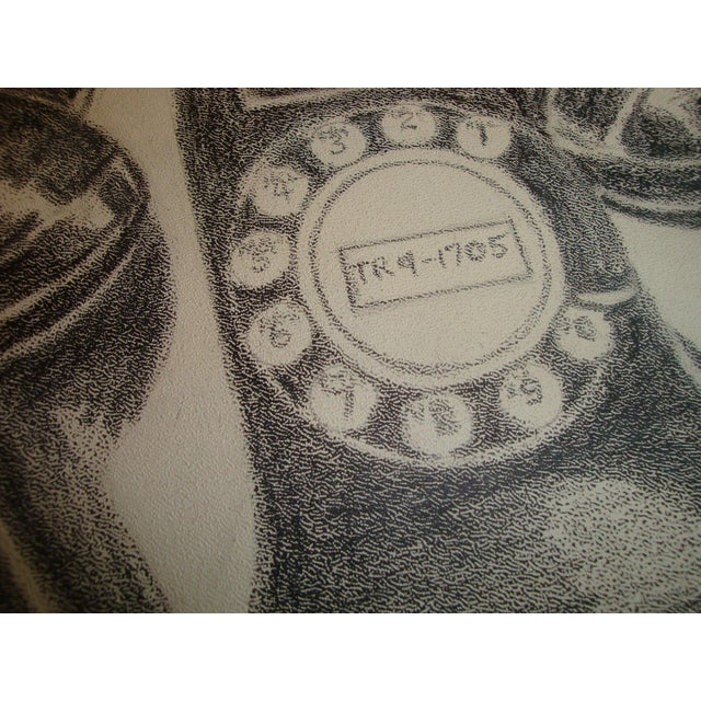 Graphic and detailed charcoal sketch of a vintage rotary dial bakelite telephone. Circa 1955. This model phone would have...