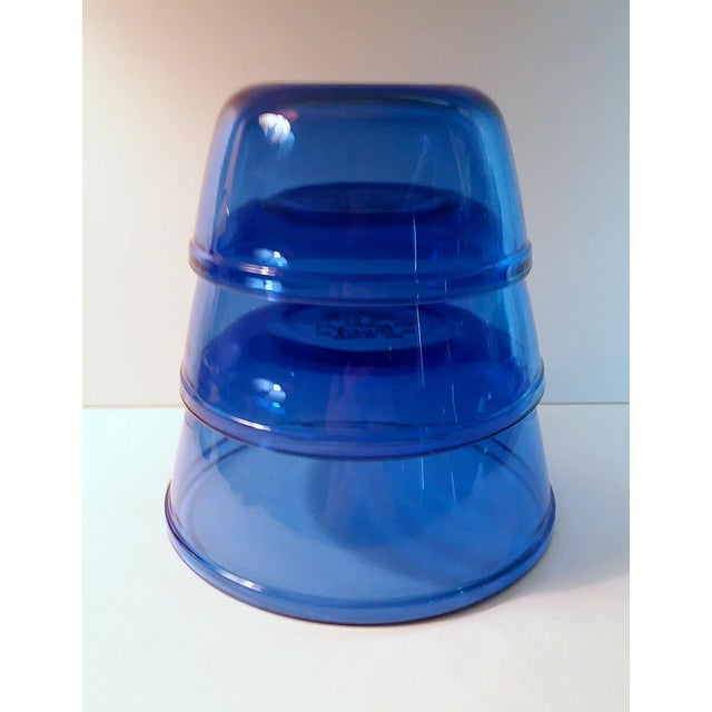 """Vintage set of three """"Mix and Measure"""" Cobalt Blue mixing bowls by Anchor Hocking. Brilliant, cobalt blue glass. Very..."""