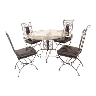 Vintage Regency Iron Patio Dining Set For Sale