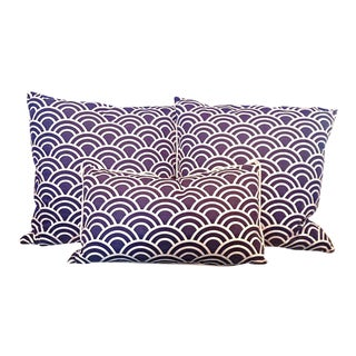 Navy & White Art Deco Arch Pillows - Set of 3