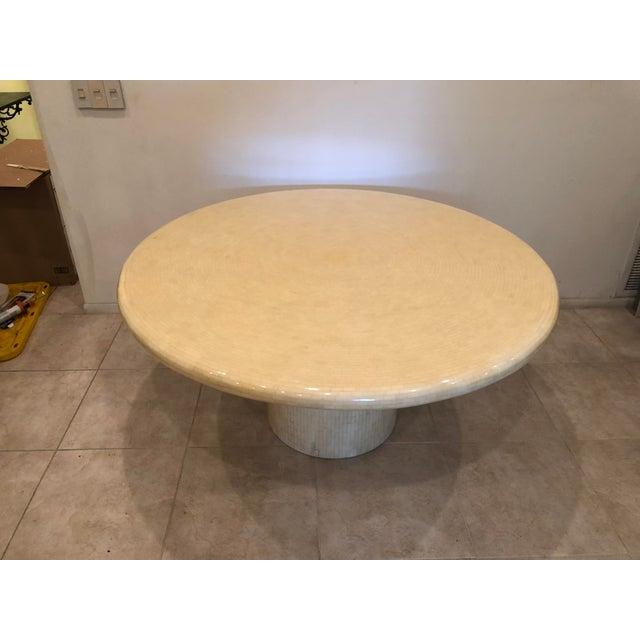 1980's custom made tessellated bone mosaic round dining table.
