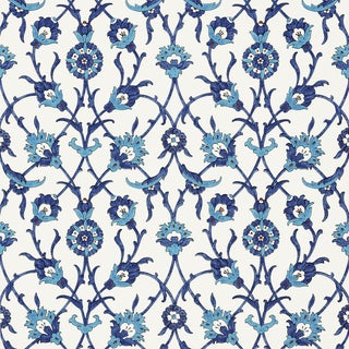 Schumacher X Martyn Lawrence Bullard Sultan's Trellis Wallpaper in Peacock For Sale