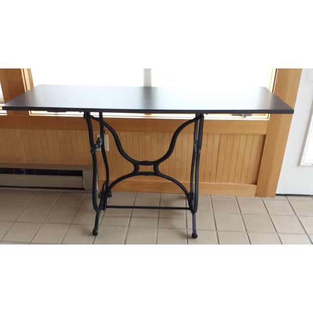 Black Wrought Iron & Slate Top Console Table For Sale - Image 8 of 11