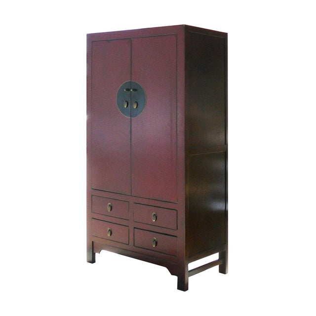 Chinese Red Elm Wood Armoire - Image 3 of 5