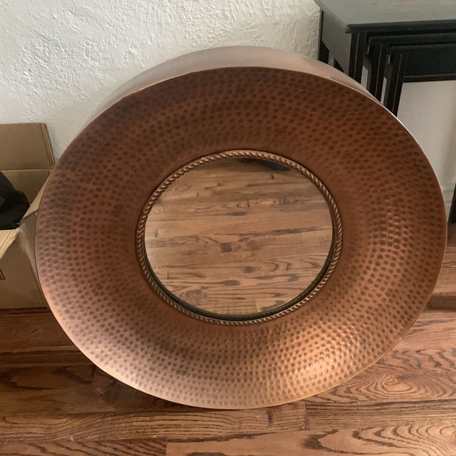 Hammered Copper Wall Mirror For Sale - Image 10 of 11