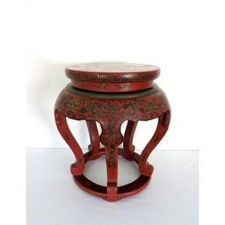 Antique Chinese Red Lacquer Courtesans & Lotus Stool, Side Table or Pedestal Preview