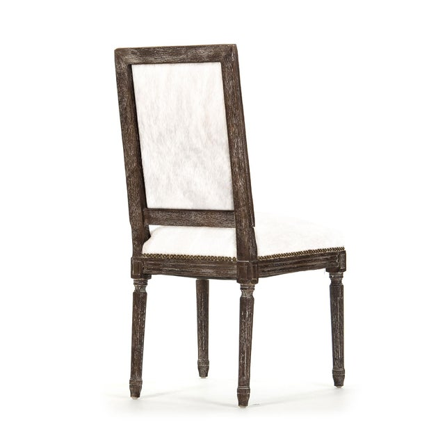 French Country Audley Cowhide Side Chair in White For Sale - Image 3 of 4