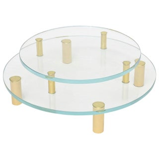 Modernist Two-Tiered Circular Brass and Glass Sculptural Centerpiece For Sale