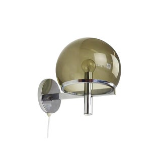 Gaetano Sciolari Club Smoke Glass & Chrome Wall Lamp For Sale