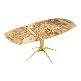 1950s Italian Spider Brass Base and Onyx Coffee Table For Sale