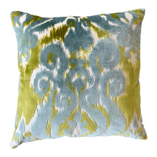 FirmaMenta Italian Chartreuse and Sky Blue Ikat Velvet Pillow For Sale