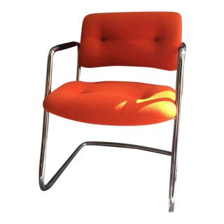 Vintage 1975 Steelcase Orange Cantilever Chrome Lounge/Office Chair For Sale