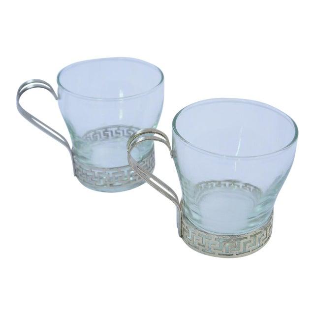 Art Deco Greek Key Coffee Cups - A Pair For Sale