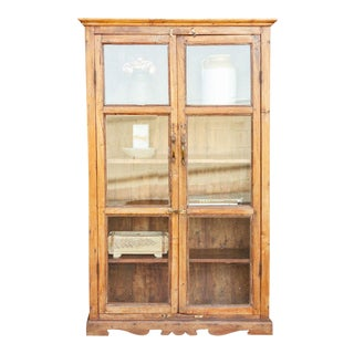19th Century Bleached Teak Glass Cabinet For Sale