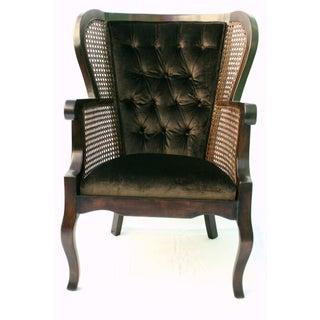 Vintage Regency Cane High Wingback Chair