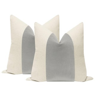 "22"" Mist Velvet Panel & Linen Pillows - a Pair"