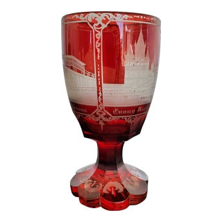 Bohemian Ruby Cut Crystal Goblet For Sale