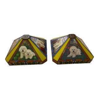 1980s Bichon Frise Stained Glass Lamp Shades - a Pair For Sale