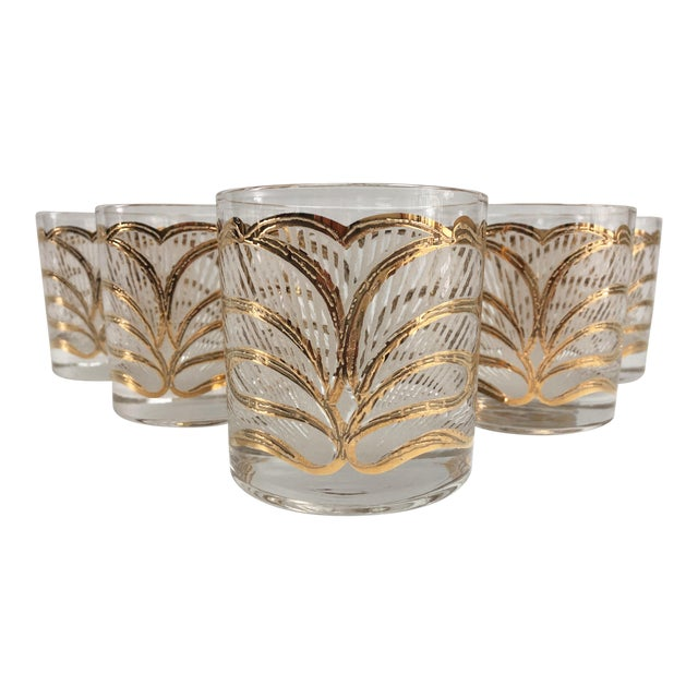 Mid-Century Hollywood Regency Gilt Rocks Glassware - Set of 5 For Sale
