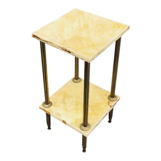 End Table/Lamp Table, Mid-Century Two-Tiered Onyx & Brass For Sale