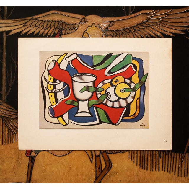"""Abstract Expressionism 1948 Fernand Léger Original """"Still Life With a White Vase"""" Period Lithograph For Sale - Image 3 of 8"""