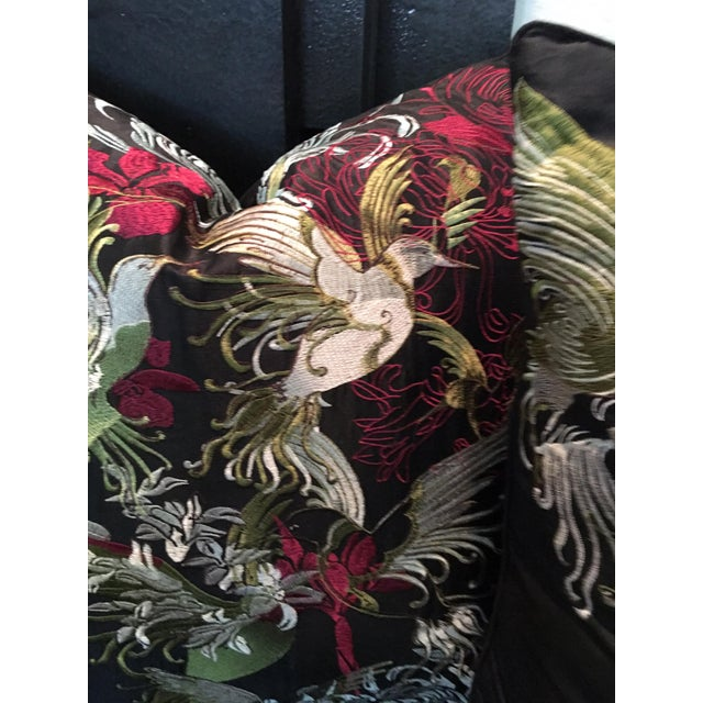 Textile Pair of Rodeo Home Beverly Hills Embroidered Flora and Fauna Throw Pillows For Sale - Image 7 of 9