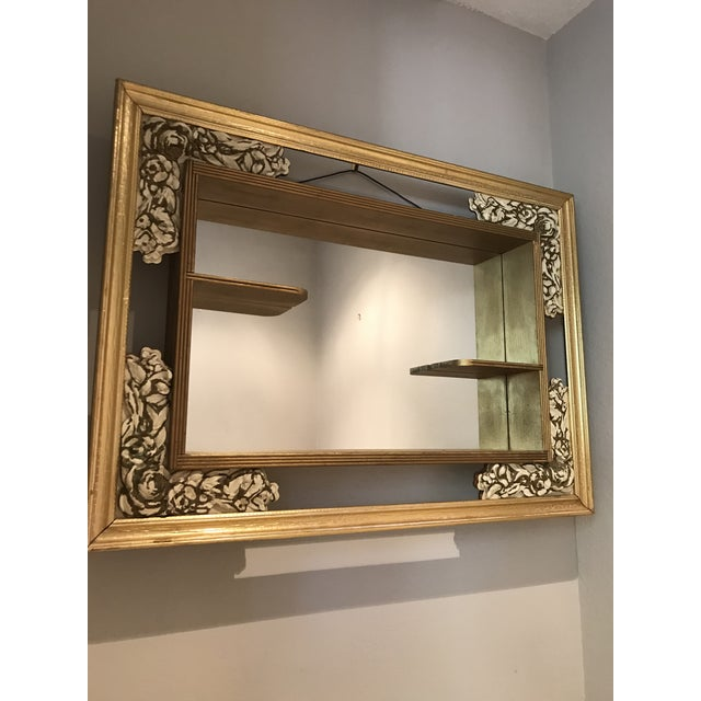 White Mid-Century Modern Gilded Shadow Box Mirror With Carved Roses For Sale - Image 8 of 9