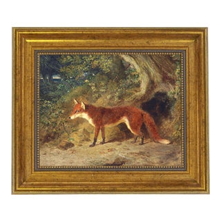 "Fox and Feathers Framed Oil Painting Print on Canvas in Antiqued Gold Frame An 8"" X 10"" Framed to 11-1/2"" X 13-1/2"" For Sale"