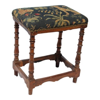 17th C. French Needlepoint Stool For Sale