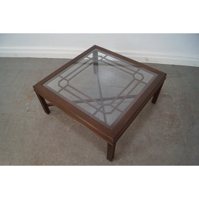 Chippendale Style Cherry Glass Top Coffee Table - Image 8 of 10