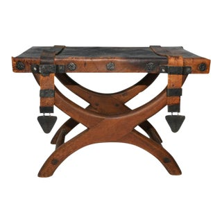 Mahogany & Leather Stool Butaque For Sale