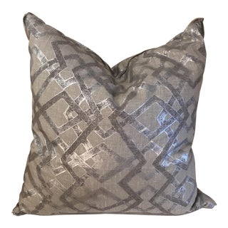 Silver and Grey Hand Printed Linen Pillow