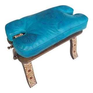 Modern Moroccan Turquoise Camel Saddle Leather Cushion Wooden Base Stool For Sale