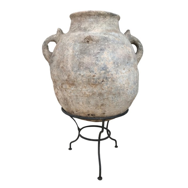 "Lg Saharian Terracota Pot W/ Stand 29"" H For Sale"