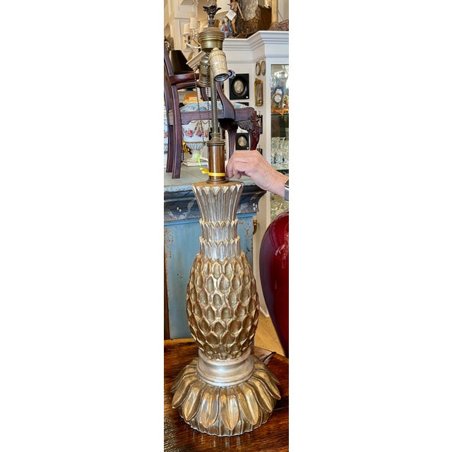 Italian Vintage Giltwood Pineapple Gold & Silver Leaf Table Lamp For Sale - Image 3 of 5
