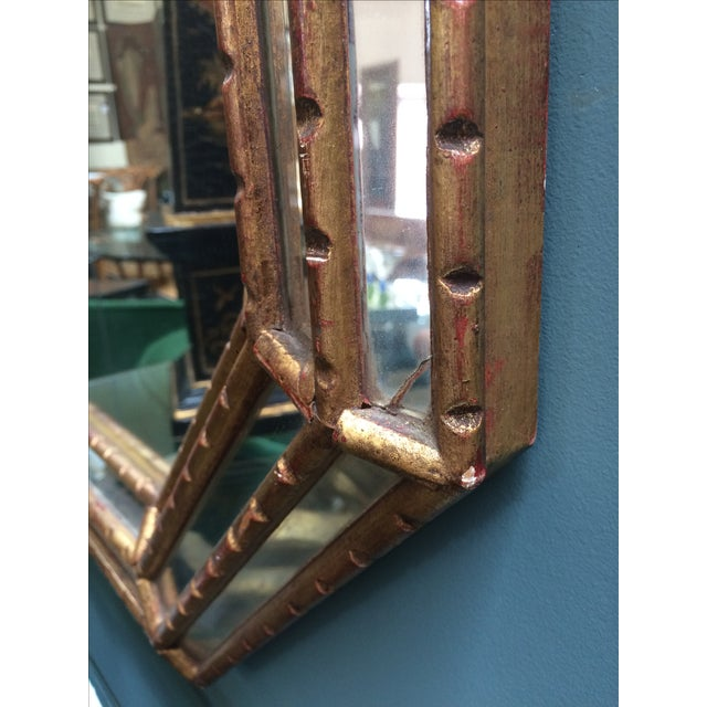 Octagonal Mid-Century Faux Bamboo Gold Gilt Mirror - Image 5 of 5