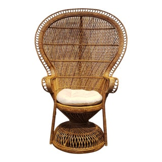 Wicker Rattan Peacock Throne Chair For Sale