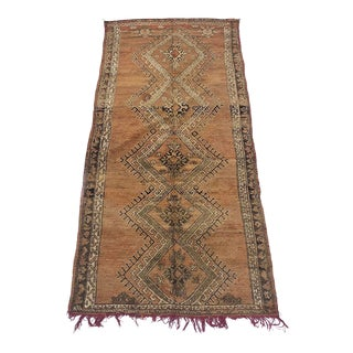 "1960's Vintage Tribal Boujad Wide Runner-4' X 8'8"" For Sale"