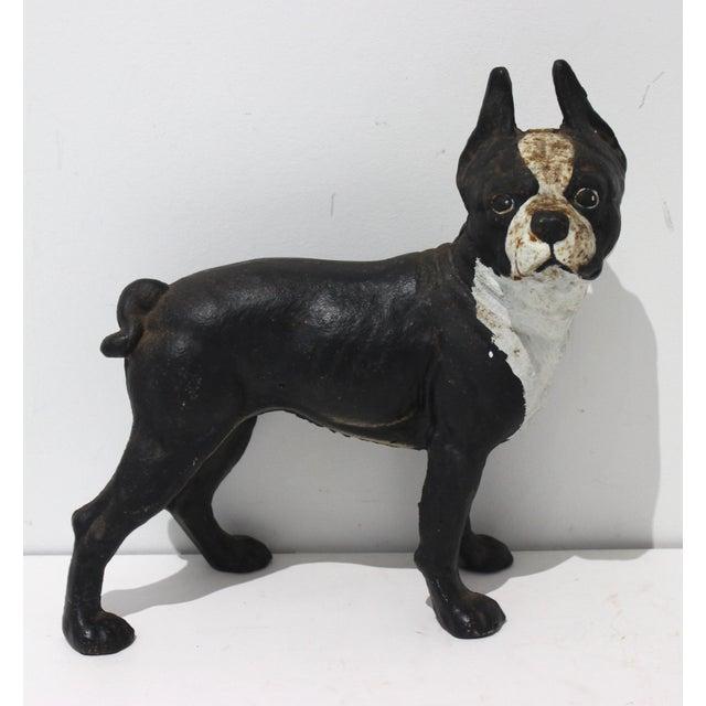 Vintage Hubley Style Boston Terrier Dog 2-Piece Cast Iron Doorstop Door Stop For Sale - Image 10 of 10