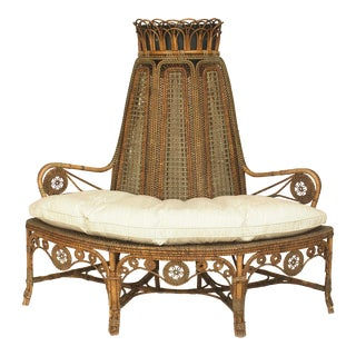 French Victorian Wicker Loveseat For Sale
