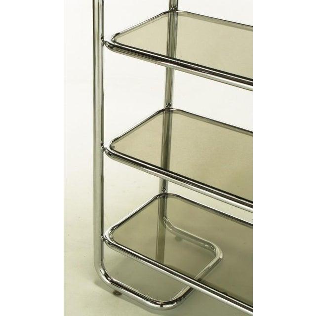 Tubular Chrome & Smoked Glass Five Shelf Etagere. - Image 7 of 10