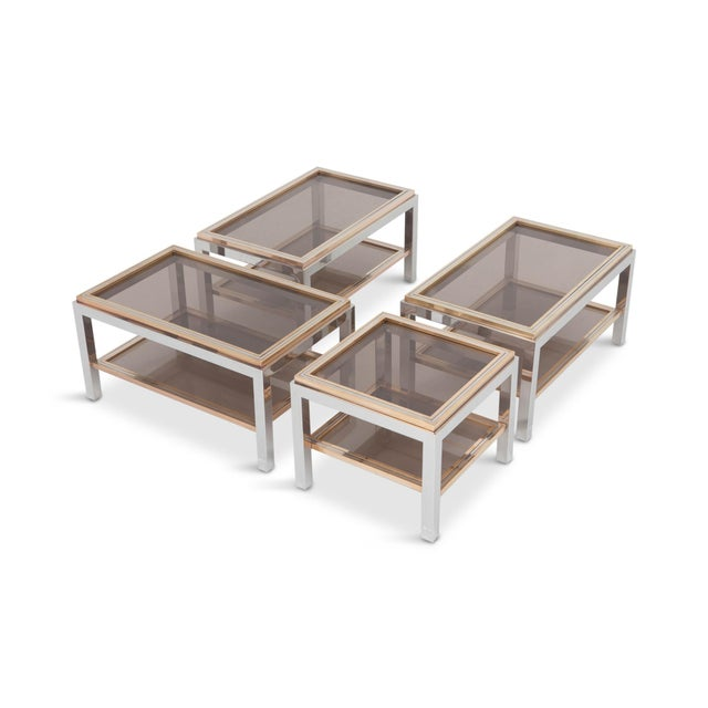 Willy Rizzo Willy Rizzo Rectangular Side Table in Brass, Chrome & Glass For Sale - Image 4 of 12