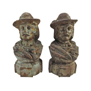 Antique French Cast Iron Portrait Chenets - a Pair For Sale