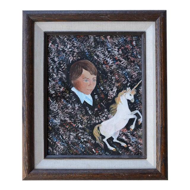 Vintage 1984 Retro Boy & Unicorn Painting For Sale