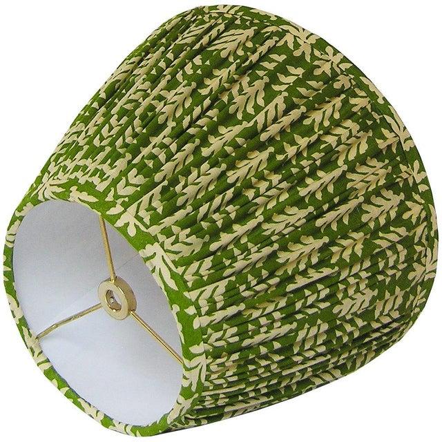 Medium Green Cotton Print Gathered Lamp Shade - Image 3 of 3