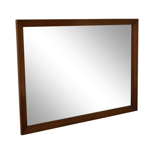 Mid Century Vintage Walnut Frame Beveled Wall Mirror For Sale - Image 13 of 13