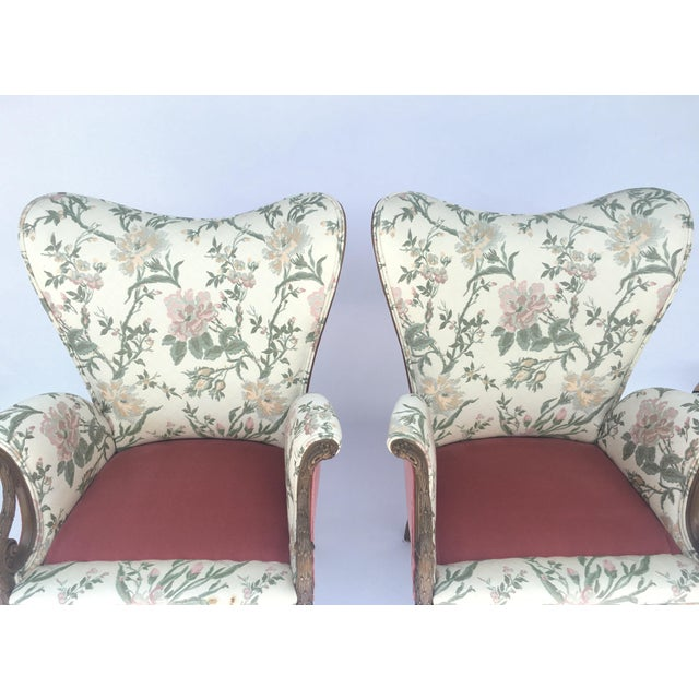 Carved French Hollywood Regency Style Butterfly Wing Chairs For Sale - Image 9 of 10