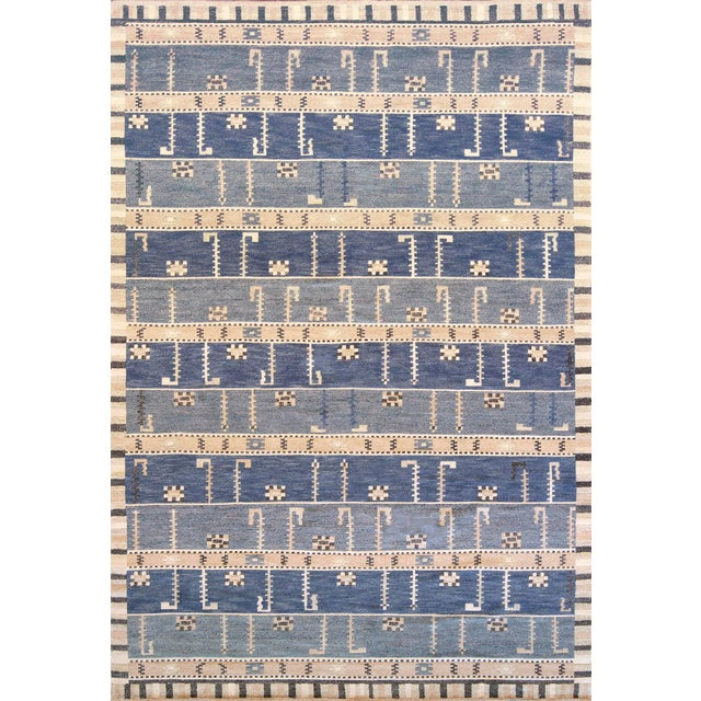 2010s Hand-Woven Swedish Style Wool Rug For Sale - Image 5 of 5
